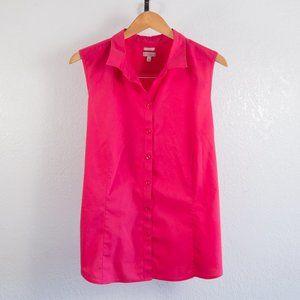 Talbots Sleeveless Pink Button Down Shirt